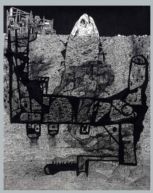 Swapnesh  Vaigankar, Flow in Mahi-2009, 29x37 inch Environmental, Ink on paper