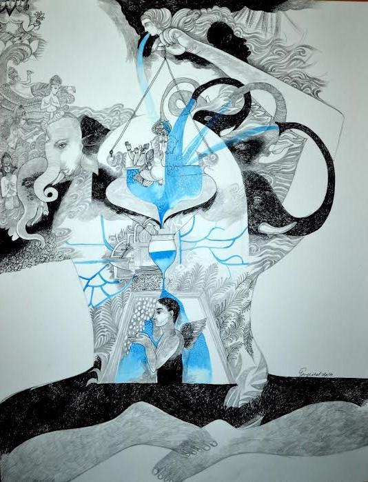 Tanaji, Abhishek-2014, Myth, Mixed media on paper