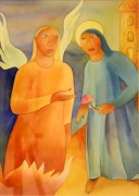 France D'Souza - Annunciation  - Water colours on paper