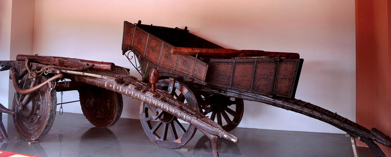 The ancient Gypsy carts on display at Goa Chakra