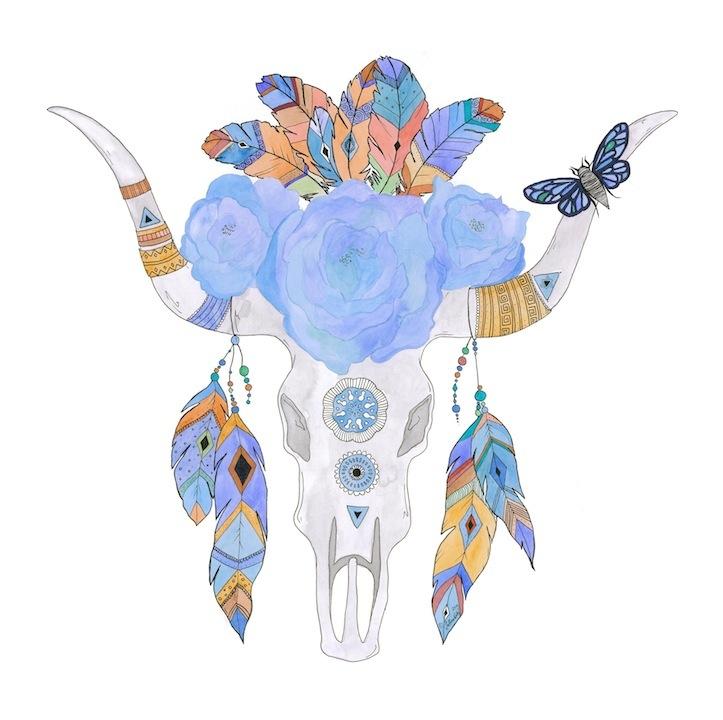 Desert Rose tribal skull 1 watercolour pen and ink