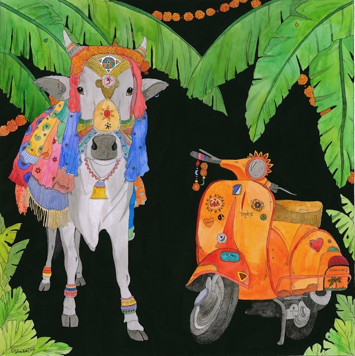 its better in Goa .watercolour pen and ink.