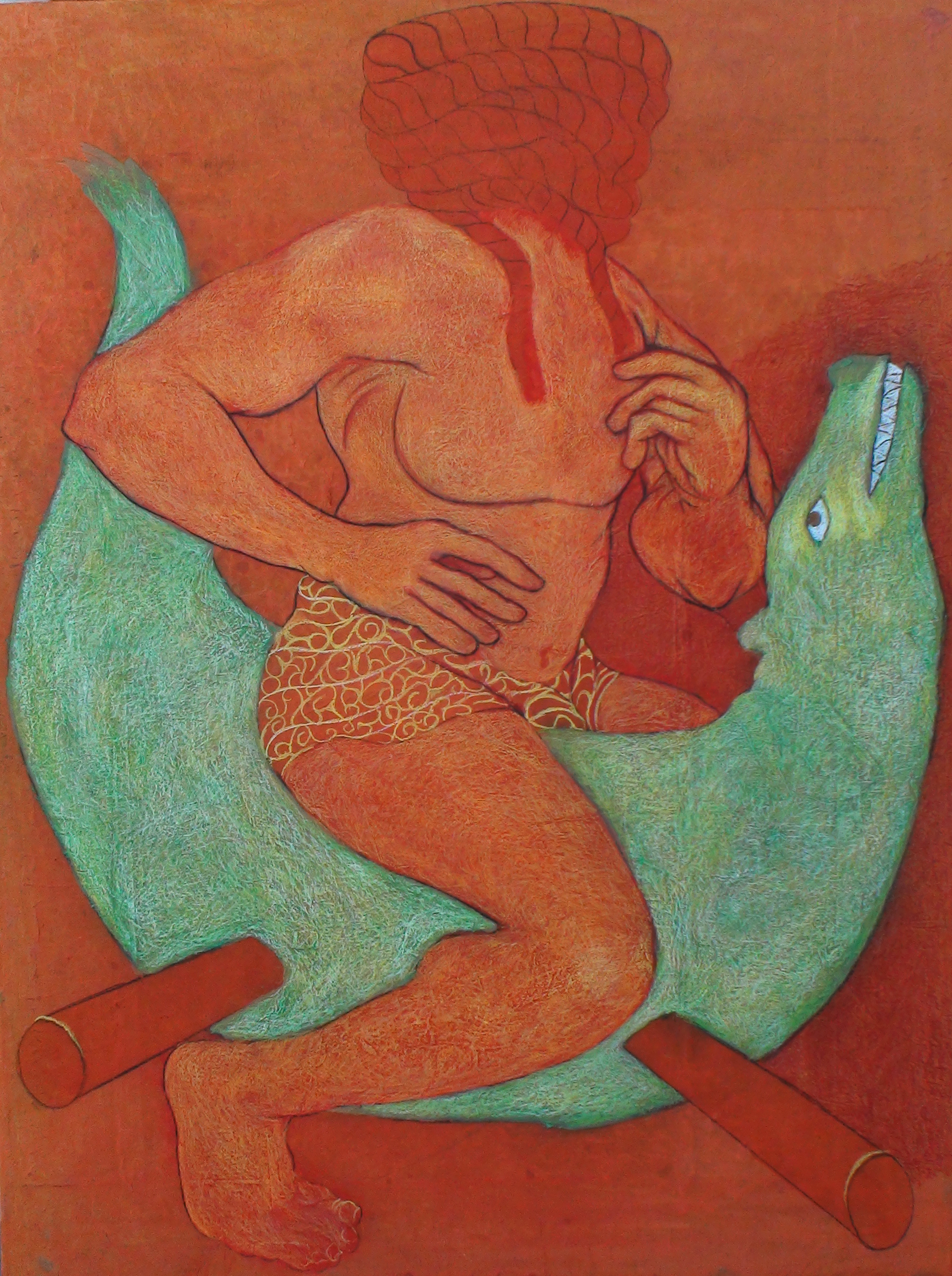 Viraj Naik, varuna-2014, 3x4 ft, Mythology, Oil Painting